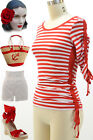 50s Style RED & White STRIPE BOATNECK Pinup Top w/ROUCHED Side&Sleeve Detailing