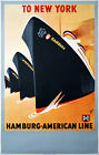 NEW YORK TO HAMBURG.. Vintage Travel/Advertising Poster A1A2A3A4Sizes