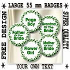 """YOUR OWN DESIGN WEDDING PARTY/GUEST BADGES~ PERSONALISED 55 MM/ 2.2 """" STUNNING!"""