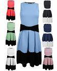 LADIES WOMEN SLEEVELESS FRONT WAIST BOW CONTRAST PLEATED FLARE SKATER DRESS TOP