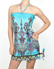 Sexy Turquoise Paisley Summer Casual Clubwear Dress M-X