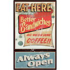 Eat Here Always Open Diner Wall Decal Sandwiches Coffee Kitchen Decor