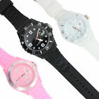 WATCH SILICONE UNISEX MENS LADIES FASHION BLACK PINK WHITE GIRLS BOYS KIDS GEL