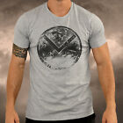 Mens Gym Spartan Grey Shield T Shirt Fitness Muscle Top Boxing MMA Running Tee