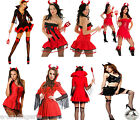 RED Black Naughty DEVIL GIRL DELUXE FANCY DRESS COSTUMES HALLOWEEN PARTY OUTFIT