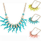 Womens Bohemia Imitation Coral Fringed Charm Bib Chain Statement Necklace Chain
