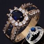 Luxury Womens Blue Sapphire Gold Silver Wedding Rings Bridal Engagement Rings