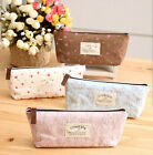 Canvas Floral Pen pencil case coin pouch make up Zip pockets Vintage Pink Blue