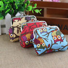 Girl Retro Canvas Owl Floral Coin Bag Purse Wallet Card Case Handbag Trendy Fad