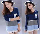 Women Lady New Long Sleeve Base Shirt Tunic Stripe Print Splice Top Lace Blouse