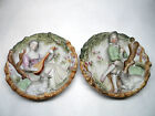 STUNNING VINTAGE BISQUE PORCELAIN PLATE W/BOY AND SHEEP / LADY & SHEEP