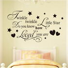 Twinkle Star Heart Quote Wall Stickers Home Decor Kids Nursery Baby Room Decals