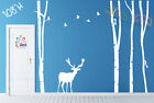 """Wall Decor Decal Sticker large birch tree trunk forest 4 trees with Deer 108""""H"""