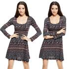 New Women Long Sleeve Floral Print Boho Tunic Party Dress Evening Cocktail Dress