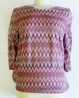 Ladies Zig Zag Pattern 3/4 Sleeve Top 9055