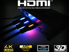 Light Up LED BRAIDED Ultra HDMI 1.4 Cable HD TV 4K GOLD 1m to 5m White Blue Red