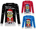 WOMENS LADIES KNITTED MINION CHRISTMAS XMAS JUMPER KIDS UNISEX TOP SWEATER 2-18