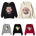 Womens Casual Long Sleeve Diamond Printed Pullover Loose Sweater Blouse Tops A41