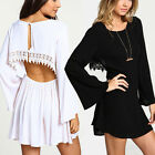Fashion Womens HOBO Backless Maxi Party Evening Beach Holiday Ladies Short Dress