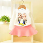 1-6Years Girls Baby Long Sleeve Top+Skirt Two-Piece Dress Casual Cartoon Outfits