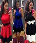Women Sleeveless Bodycon Party Cocktail Club Evening Dress Bow Mini Short Dress