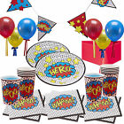 Deluxe Comic Superhero Boys Birthday Party Kit, Plates Cups Bunting Balloons!