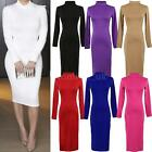 Sexy Women's Turtle Neck Long Sleeve Stretch Bodycon Bandage Pencil Midi Dress