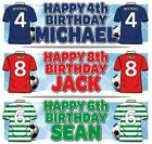 "PERSONALISED FOOTBALL BIRTHDAY BANNER 36 ""x 11"" - ANY AGE, ANY NAME, ANY COLOUR"