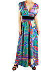 Turquoise Waves Colorful Kimono High Empress Waist Maxi Dress S-XL