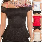 NEW SEXY LACY FASHION SHOULDER TOP for ladies ONLINE peplum blouses sz XS S M L