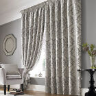 Ashley Wilde Lille Silver Pencil Pleat Velvet Style Flock Ready Made Curtains