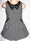 GIRLS BLACK & WHITE CHECK BEAD DIAMONTE COLLAR WINTER WOOLLY PARTY DRESS