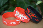 """BABY METAL Silicone 1"""" Wide Debossed Filled in Colour Wristband Bracelet"""
