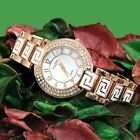 FW856A Rose Gold Tone Band Round White Dial Women Trendy Crystal  Bracelet Watch
