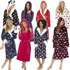 Ladies Fleece Super Soft Dressing Gown Hooded Robe Snuggle Wrap Sizes S M L XL