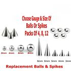 Replacement Surgical Steel Threaded Balls And Spikes Spare Barbell Ends 14g 16g