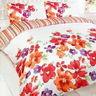 Anastasia Red White Floral Striped Reversible Duvet Quilt Cover Bedding Set