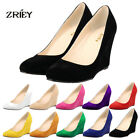Ladies High Heels Velvet Suede Leather Pointed Contrast Court Party Work Shoes