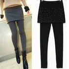 Fashion Women Rivets Hiphuggers Skirt Leggings 2 in 1 Stretch Pants Trousers New