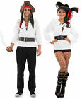 MENS LADIES ADULT MEDIEVAL WHITE PIRATE SHIRT & BELT FANCY DRESS COSTUME NEW
