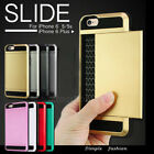ShockProof Slim Card Pocket Slide Hybrid Wallet Case For iPhone 8 7 Plus 6s Plus