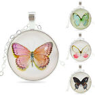 Charming Women's Silver Colored Butterfly Glass Cabochon Round Pendant Necklace