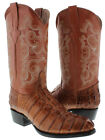 Mens Cognac Brown Round Toe Alligator Crocodile Tail Cut Leather Cowboy Boots