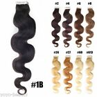 100% Remy Human Hair Extensions Seamless PU Tape In Skin Weft Body Wavy 20Inch