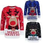KIDS KNITTED MERRY CHRISTMAS XMAS NOVELTY REINDEER JUMPER TOP SWEATER 3-14 YEARS