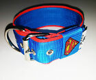"""5cm 2"""" Inches Strong Nylon Dog Collar  Superman Heavy Duty Embroidered MAG"""