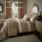 Catherine Lansfield Glamour Jacquard Gold Floral Duvet Quilt Cover Bedding Set