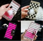 Colorful Elegant Bling Crystal Diamond Wallet PU Leather Case Cover For ZTE