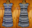 NEW MONSOON BLUE BLACK IVORY WHITE TRIBAL SUMMER TUNIC SHIFT DRESS UK SIZE 8-12