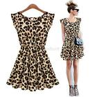Fashion Casual Mini Dress Women Leopard Ruffle Sleeve Cocktail Evening Party A16